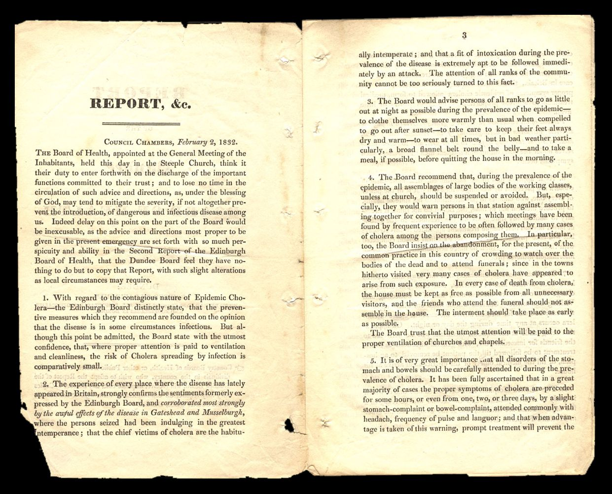 Report of the Board of Health, Cholera