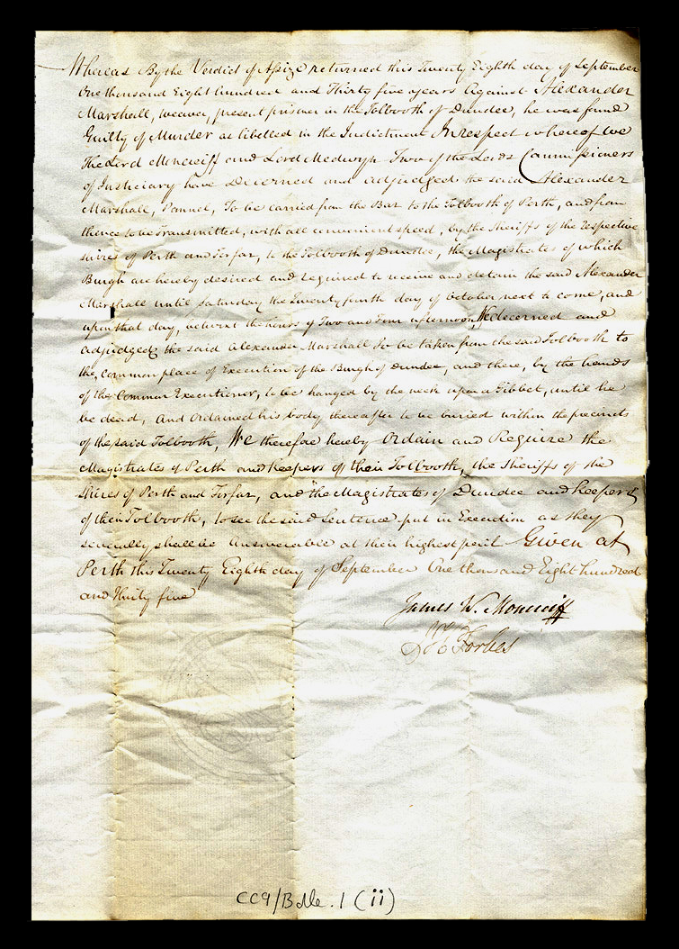 Death Warrant for Alexander Marshall