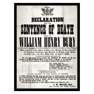 Declaration of Death Sentence for William Bury