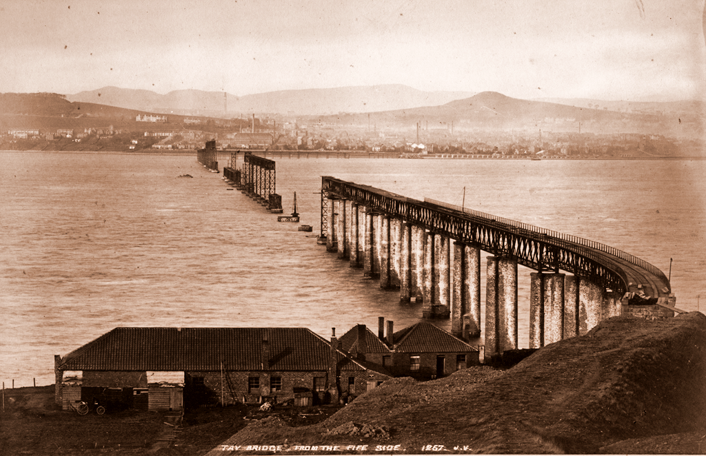 The First Tay Bridge Under Construction from the Fife Side