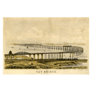 Etching of the New Tay Bridge