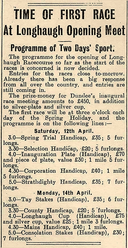 Time of First Race at Longhaugh Opening Meet