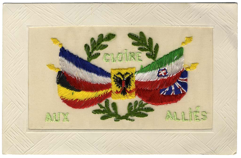 Glory to The Allies Silk Postcard