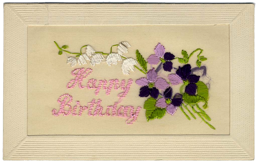 Happy Birthday Silk Postcard